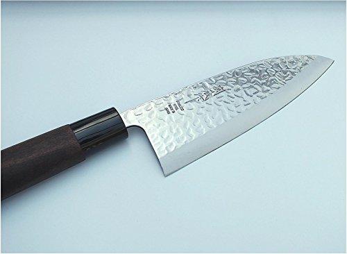 TOKYO design studio Deba-Messer mit Hammerschlag-Optik, Fleisch-Messer, 160 mm Klingenlänge, rostfreier japanischer Messer-Stahl, beidseitig geschliffen, mit Holzgriff, Original Made in Japan