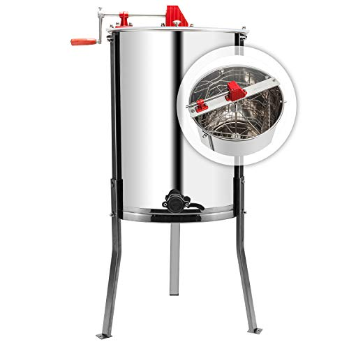 VINGLI 4 Four Frames Manual Crank Honey Extractor #304 Stainless Steel Beekeeping Pro Extraction Equipment Honeycomb Spinner Drum Honey Separator Commercial Honey Centrifuge with Adjustable Stands