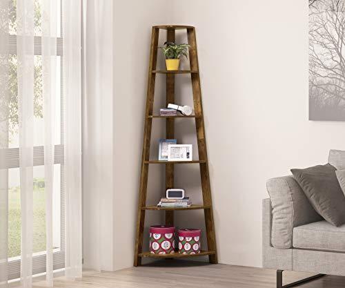 RAAMZO Nutmeg Brown Finish Wood Wall Corner 5-Tier Bookshelf Bookcase Accent Etagere