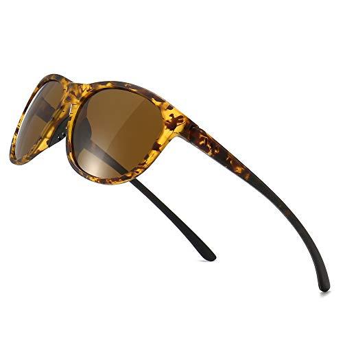 SUNGAIT Ligeras y Irrompibles Gafas de Sol con Lentes Polarizadas Gafas de UV-protección Vendimias(Lente Marrón Polarizado/Marco Ámbar (Acabado Mate))
