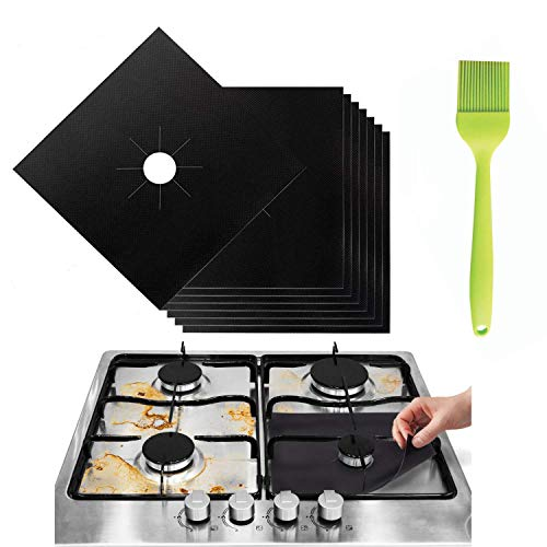 Stove Burner Covers - Gas Range Protectors Countertop Accessories for Kitchen Reusable, Customizable, Non Stick, Dishwasher Safe, Heat Resistant Stovetop Guard 8 Pack with Silicone Oil Brush