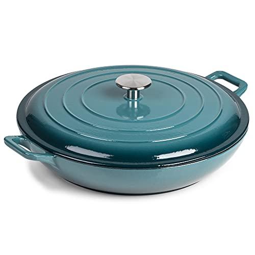 Runde Auflaufform – Gusseisen-Kessel, Induktions- und gassicher, antihaftbeschichtet, Dutch Oven – mit Deckel – 10 Jahre Garantie (3,4 l Kasserolle, Blaugrün)