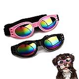CHULAI 2Pcs Stylish Pet Glasses Cool Dog Sunglasses Dog Doggles Waterproof Windproof Eyewear UV Protection Sunglass for Doggy Puppy