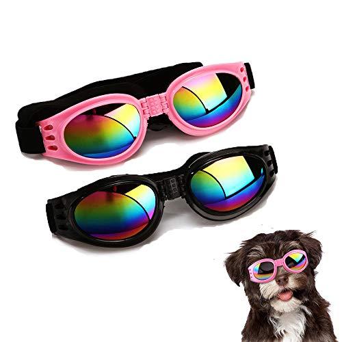 CHULAI - Occhiali da sole eleganti per cani e cani, impermeabili, antivento, protezione dai raggi UV, 2 pezzi