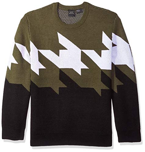 A|X Armani Exchange Men's Zoom Houndstooth Sweater, peat/White/Black, XS