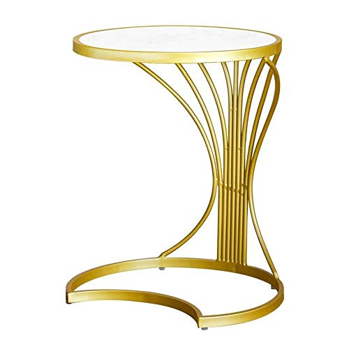 BHJqsy Marble side table Nordic modern living room sofa side table small round table balcony gold wrought iron casual coffee table, 15.7' × 19.6' Nest Tables (Color : White)