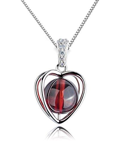 Cadena para mujer plata de ley 925, con cristal de granate rojo, colgante de corazón giratorio, 45 cm, con caja de joyas
