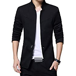 Vinyst Mens Pocket Oversized Lounge Fitted Button Stand Collar Blazer Coat
