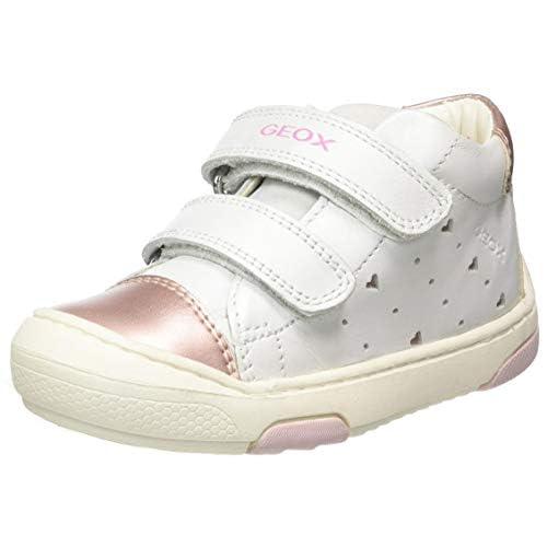 Geox B JAYJ Girl D, Scarpe da Ginnastica Basse Bimba 0-24, Bianco (White/Lt Pink C0814), 18 EU