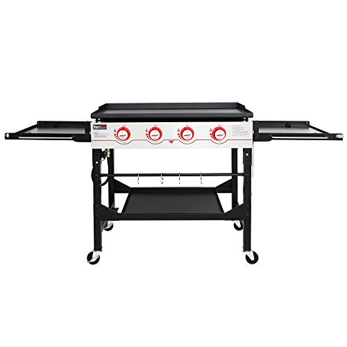 Royal Gourmet GB4000F 36-Inch Flat Top Gas Griddle, 4-Burner Propane BBQ Griddle with Top Cover Lid, Folding Side Shelves and Legs for Large Outdoor Camping, Black