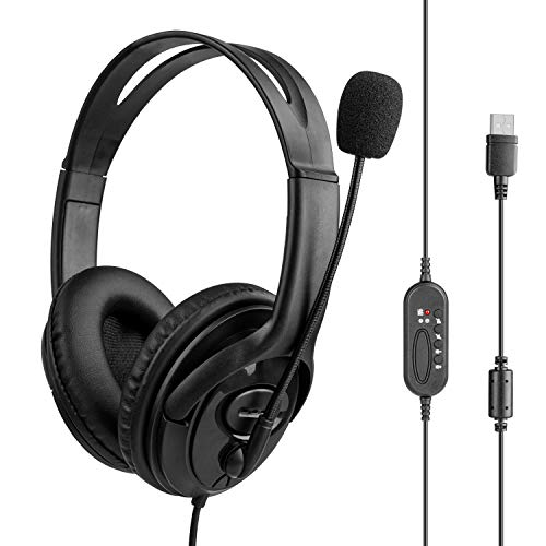 USB Headset with Microphone, USB Headset with Microphone Noise Cancelling & Audio Controls, Clearer Voice Comfort-fit Stereo Computer Pro Headphones for Call Center Office Business Skype