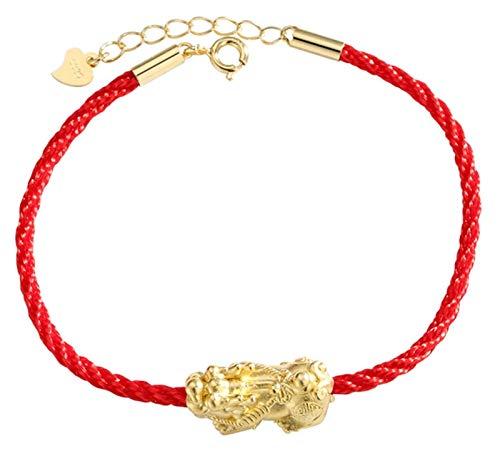 XIAOGING Pulsera de Cuerda roja s925 S925 PIXIU PIXIU/PI YAO Pulsera de Oro Pixiu Pulsera Ajustable para Mujeres Atraer Amuleto de la Riqueza