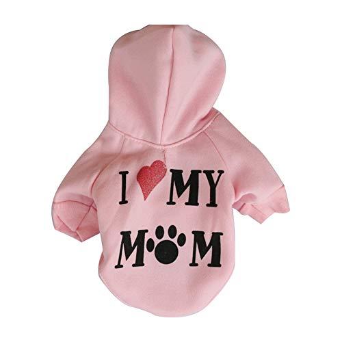 NAttnJf - Sudadera con Capucha para Perro, diseño con Texto Love My Mom