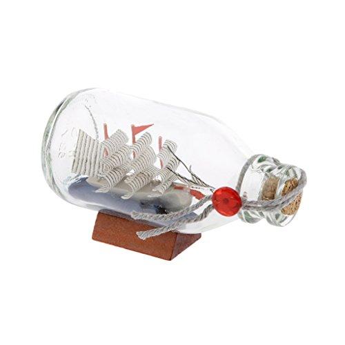 Sharplace Botella de Deseo de Cristal Barco Pirata Vela Decoración de Casa Oficina Buen Regalo