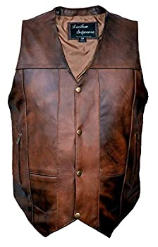 Leather Supreme Men s Ten Pocket Concealed Carry Retro Brown Buffalo Hide Leather Vest With Removable Holster-Brown-44