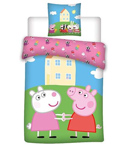 Juego de cama para bebé Peppa Pig – Funda nórdica de 100 x 135 cm + funda de almohada de 40 x 60 cm