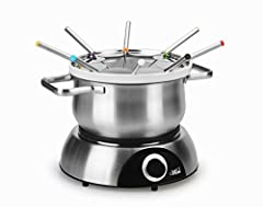 Elegant designed stainless steel outer pot, removable ceramic inner pot and 8 stainless steel forks with heat resistant handles in various color ends 2500ml stainless steel pot, 1000ml removable ceramic pot, perfect size to serve a family; replacemen...