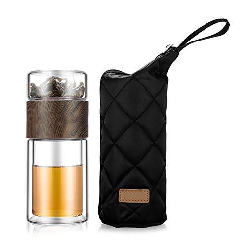 Yusea Glaswasserflasche Doppelschichten Tee Wasserflasche Infuser Tumbler Drinkware Smart Bottle Teefilter