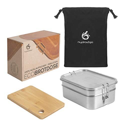 hydro2go® | NEU | Auslaufsichere Edelstahl Brotdose als innovatives Set. BPA- und plastikfreie Lunchbox ohne Trennwand, Schneidebrett und Naturbaumwollbeutel. Für Kinder und Erwachsene. (2000 ml)