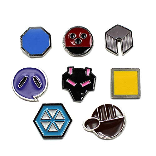Pocket Monster Generation 2 Johto Region Gym Badge Collection Box Set of 8PCS,Gift for Boy and Girls