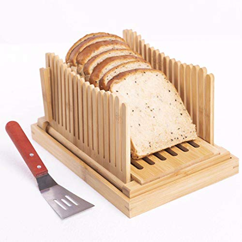 Bread Slicer for Homemade Bread with Crumb Tray & Cooking Spatula (Collapsible & Compact) Cake Toast Bagel Slicer, Bamboo Bread Slicer Guide, Bread Slicing Guide Cutting Guide, Loaf Cutter Guide