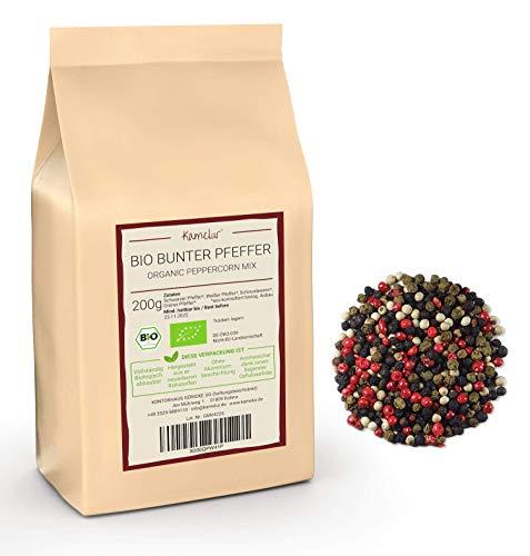 200g di pepe colorato BIO per il macinapepe, mix di grani di pepe intero BIO selezionato: pepe nero, verde, bianco e rosa