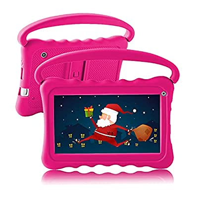 Kids Tablet 7 Toddler Tablet for Kids Edition Tablet for Toddlers 32GB with WiFi Dual Camera googple Plays Netflix YouTube Children's Tablets Android 10 Parental Control Shockproof Case (Rose Red)