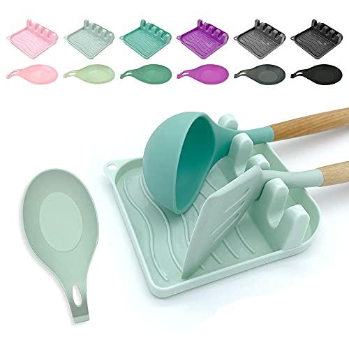 LSVGOE - Juego de 2 cucharas de silicona para múltiples utensilios con almohadilla antigoteo antideslizante, resistente al calor y soporte para cuchara para espátula, cucharón, pinzas, utensilios de cocina y accesorios de cocina (verde claro)