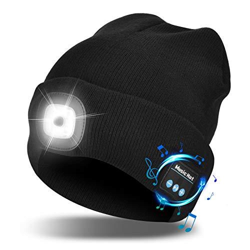 Etsfmoa Unisex Bluetooth Beanie Hat with Light,4 LED USB Rechargeable Wireless Headphones Tech Caps,Gifts for Men Father Dad Husband Boyfriend Him Women Teen Boys (Black)