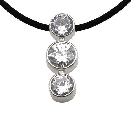Colgante de plata de alta calidad de orfebrería alemana (plata de ley 925) con piedras de circonita, colgante para mujer, completo con collar de caucho ajustable.