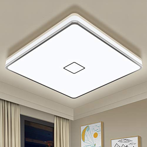 Plafon Techo LED 24W LED Lámpara de Techo Moderna Cuadrada Airand Downlight Panel Superficie LED Impermeable IP44 Plafón LED Para...