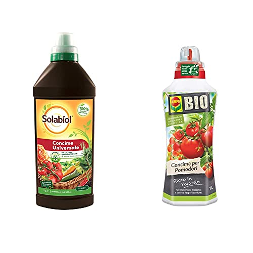 Solabiol Concime Liquido Biologico Universale, 1 Litro & Compo Bio Concime Liquido Per Pomodori, Ricco In Potassio, Consentito In Agricoltura Biologica, 1 L