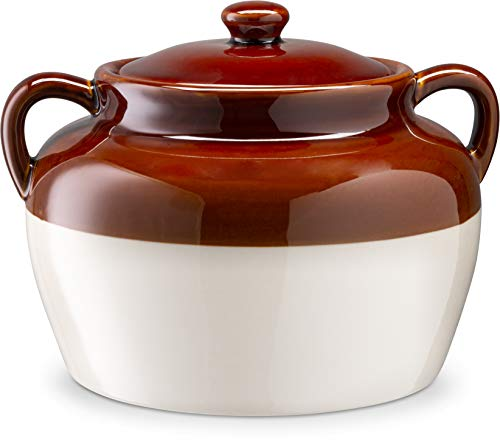 Bean Pot for Baked Beans, Chili, by Kook, Olle de Barro, Ceramic Make, Easy to Lift Lid, Large Handles, Brown and White, 5 Quarts