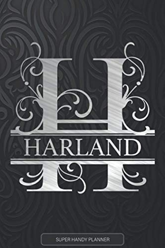 Harland: Monogram Silver Letter H The Harland Name - Harland Name Custom Gift Planner Calendar Notebook Journal