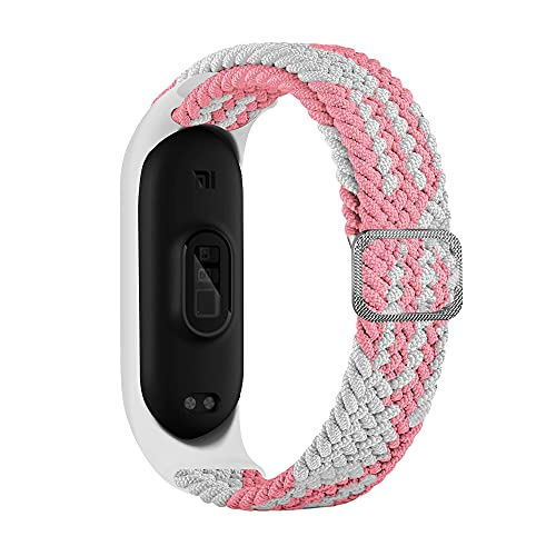 BoLuo Correa para Xiaomi Mi Band 6,Bandas De Correa Repuesto,Correas Reloj, Nylon Reloj Recambio Brazalete Correa Repuesto Strap Wristband para Xiaomi Mi Band 6 5 4 3 Accessories (rosa blanco)