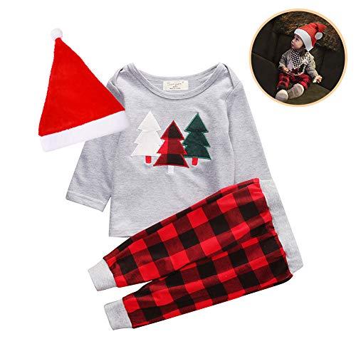 EisEyen Sudadera Manga Larga para niños Tops Outfit Árbol de Navidad Pyjamas Juego Navidad Disfraz Jumpsuit Niño Bebé Niña 1x Top + 1x Pantalón + 1x Gorro de Papá Noel 120cm