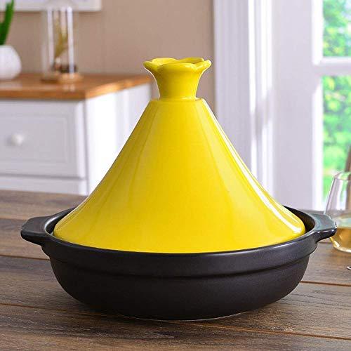 LIUSHI Cazuela binaural de cerámica con Tapa Embudo de gres para Todo Tipo de encimeras Base de 10,2 Pulgadas 3-5 Personas Amarillo