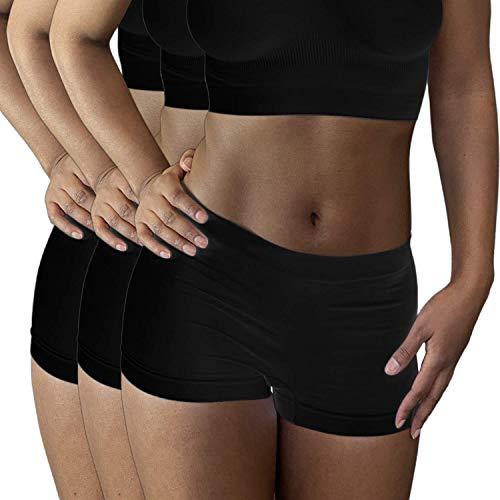 LES ESSENTIELLES Boxer da Donna Senza Cuciture – Shorty in Microfibra Stretch – Ultra Morbido e Confortevole, Confezione da 3 - Colore: Bianco Nero o Carne