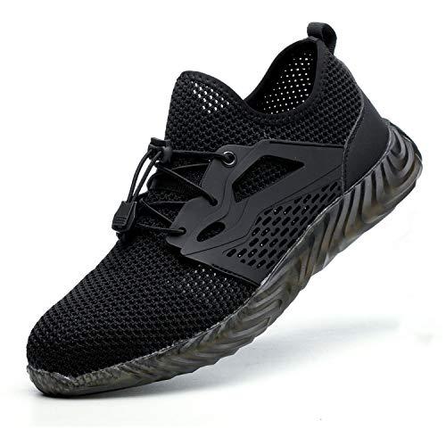 SITAILE Steel Toe Indestructible Shoes for Men Women Slip Resistant Composite Toe Work Shoes Black Size 9 Women /7.5 Men