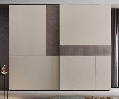 Casa Padrino Armario de Dormitorio de Lujo Crema/Gris 295 x 68 x A. 250 cm - Guardarropa de Madera Maciza con 2 Puertas correderas - Muebles de Dormitorio de Lujo
