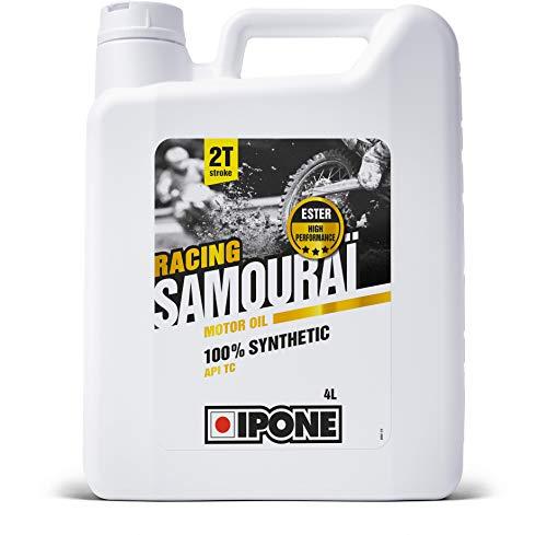 Ipone 800091 Huile Moteur Moto 2T Samouraï Racing-100% Synthétique avec Esters-Lubrifiant Haute Performance-Bidon 4 litres, 4L