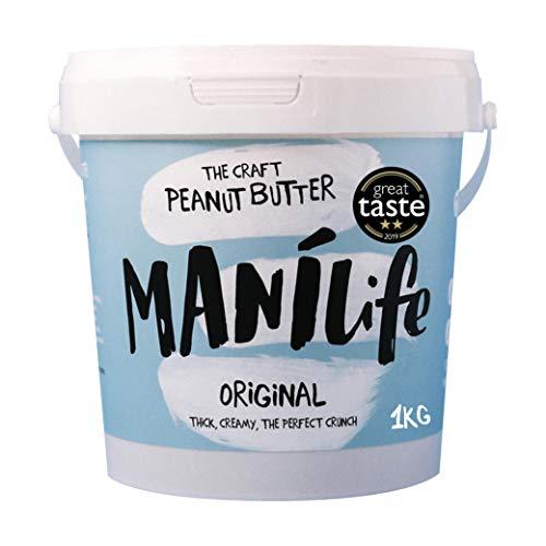 ManiLife Burro di Arachidi – Peanut Butter - Completamente Naturale, Monorigine, Senza Zuccheri Aggiunti e Senza Olio di Palma – Original Croccante (1 x 1kg)