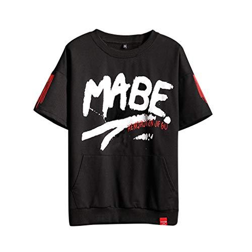 Tyoby Herren Mode T-Shirt,Original Populäres Element Drucken Hip Hop Herrenbekleidung(Schwarz,XXXL)
