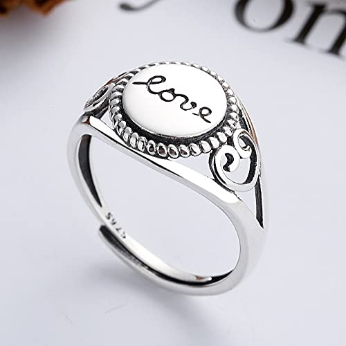 awaFanee S925 Sterling Silver Open Rings Halo Love Finger Joint Toe Ring Party Wedding Jewelry Gifts Women Girls Adjustable Size 5-10 Clearance
