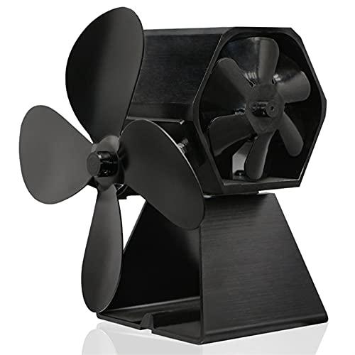 QXJTX Soplador de Chimenea 4 Blade Thermal Power Chimenea Fan Aficionado al Ventilador de Madera de la Estufa de Madera para Interiores Fuelles de Chimenea