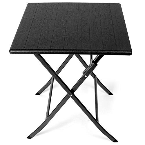 Park Alley Tavolino Pieghevole da Giardino - Robusta Struttura in Acciaio e Piano in Plastica HDPE Effetto Legno, Forma Quadrata 61,5 x 61,5 x 73 cm - Nero
