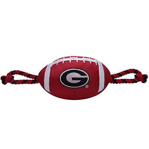 Pets First NCAA Georgia Bulldogs Football Dog Toy, Tough Quality Nylon Materials, Strong Pull Ropes, Inner Squeaker, Collegiate Team Color
