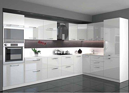 Global Trade Küche L Form Hochglanz 3,40 m x 2,20 m mit E-Geräten.Selbstschließfunktion.