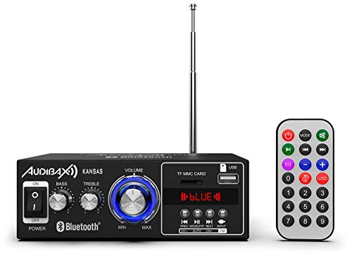 Audibax Kansas Amplificador HiFi, Receptor Bluetooth Incorporado, Potente Equipo de Música para Casa, Amplificador de Sonido con Excelente Calidad, Mando a Distancia, Entrada SD y USB, 2 x 40W