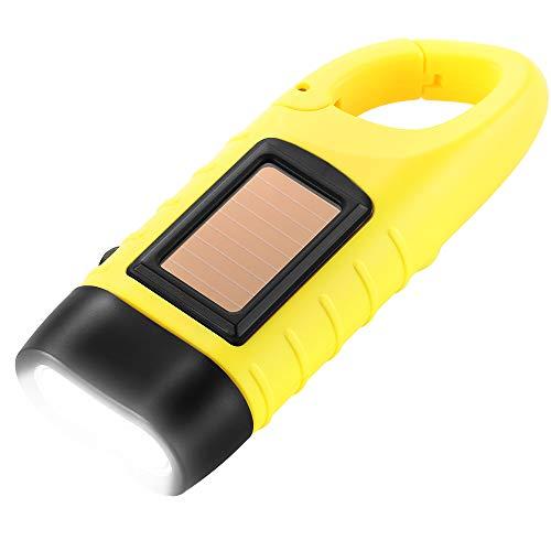 Simpeak Linterna LED, LED Linterna de Mano Resistente al Agua con Cargador Solar Linterna Dinamo para Ciclismo,Camping - Amarillo